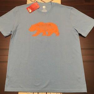 North Face Light Blue T-Shirt with Orange Logo